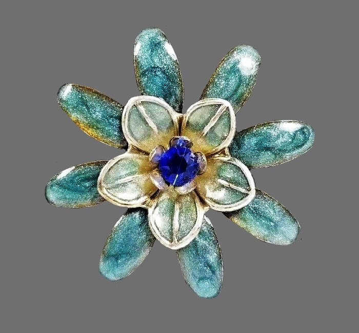 Blue and yellow flower brooch, silvertone metal, enamel