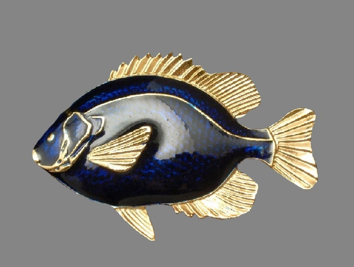 Blue enamel fish brooch