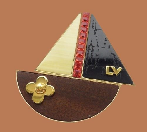 Boat brooch. Gold, brown and black tone. Louis Vuitton fashion jewelry