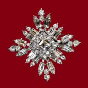 Snowflake Brooch. Rhinestones, glass cabochons, jewelry alloy