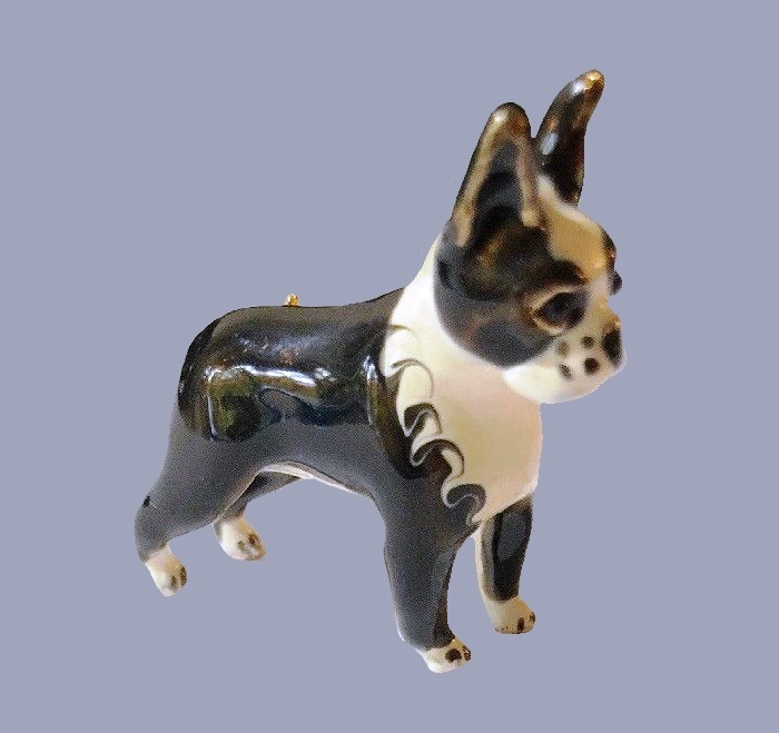 Boston Terrier Dog enameled brooch