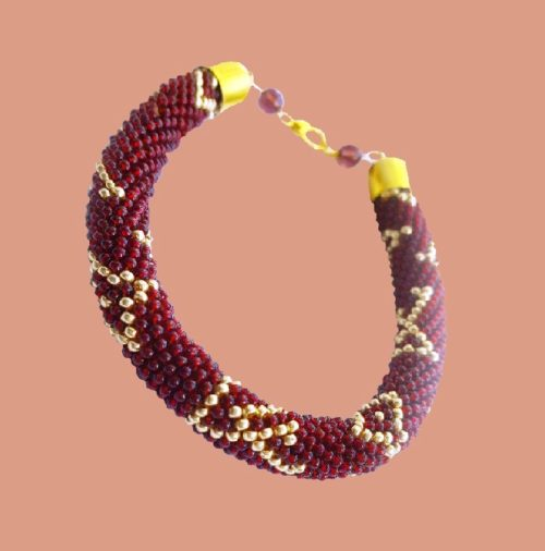 Bracelet 'LV'. Czech beads, denim thread, gold fittings, beads. Length 23.5cm (with fastener), Thickness 10 mm