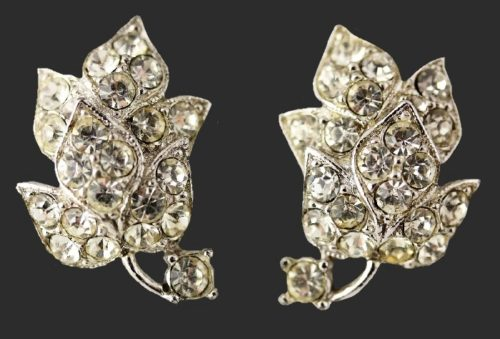 Brilliant clear rhinestones leaf earrings. 1950s