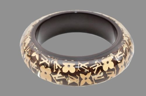 Brown resin bracelet, Monogram Inclusion