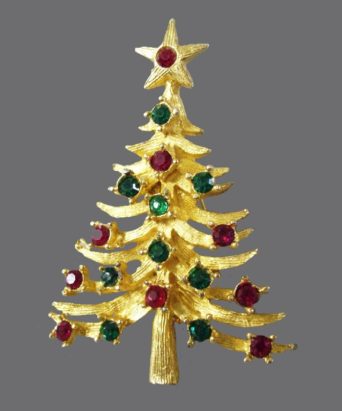 Brushed Gold Plated Christmas brooch decorated with rhinestones