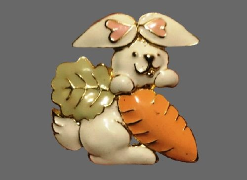 Bunny with carrot Easter brooch. Jewelry alloy, enamel