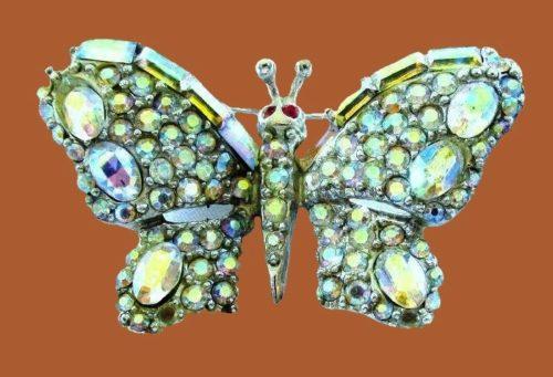 Butterfly brooch, Aurora Borealis Rhinestones