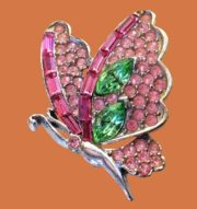 Butterfly brooch, jewelry alloy, multicolor crystals, rhinestones. 4.3 cm. 1970s