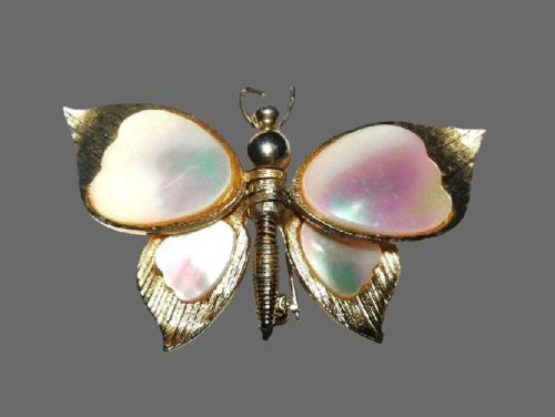 Butterfly brooch with movable wings. Mother of pearl, jewelry alloy