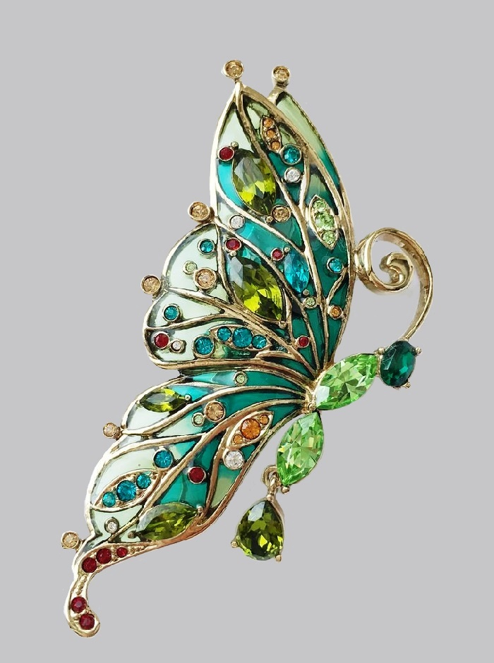 Butterfly vintage brooch. Jewelry alloy, colored crystals, Swarovski crystals, Colored glass, colored enamels, cloisonne enamel. 7.7 cm