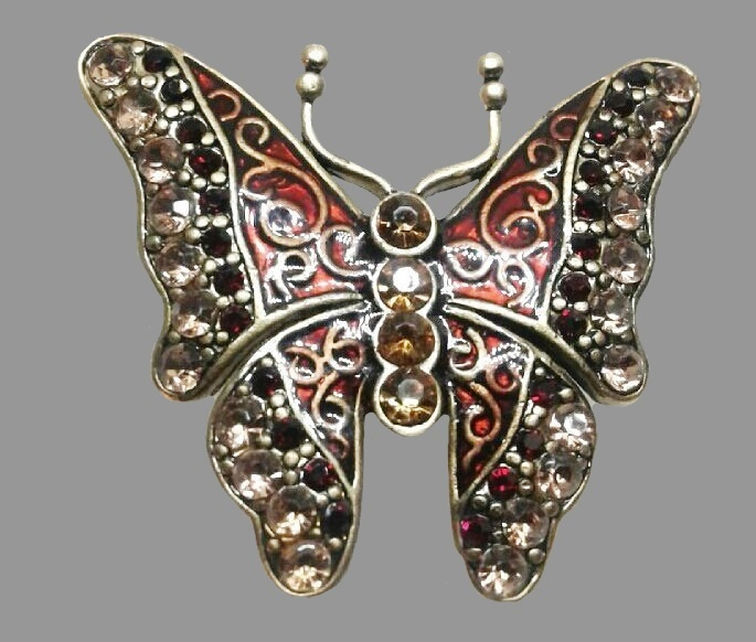 Butterfly vintage brooch. Jewelry alloy, enamel, crystals 3.7 cm