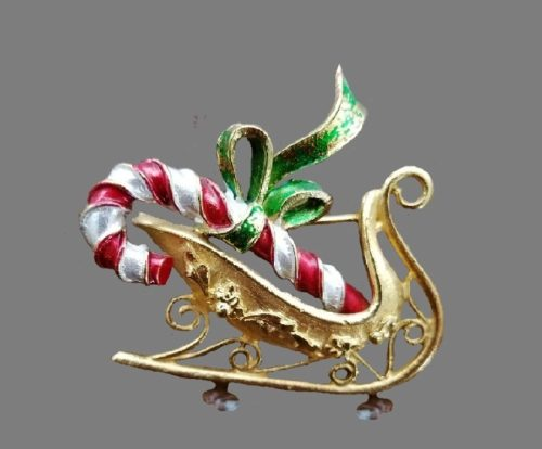 Candy Cane Sleigh Christmas brooch