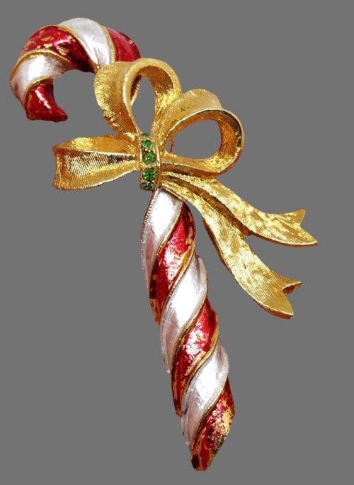 Candy cane Christmas brooch. Jewelry alloy, rhinestone, enamel