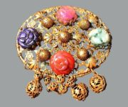 Carved faux stone rosettes brooch pin