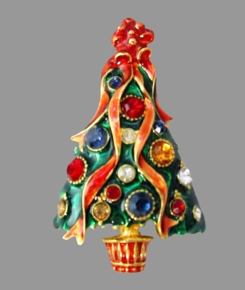 Charming Christmas tree brooch. Crystals, jewelry alloy, enamel