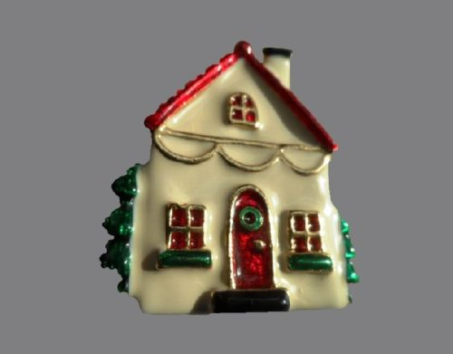 Charming house Christmas brooch. Jewelry alloy, enamel