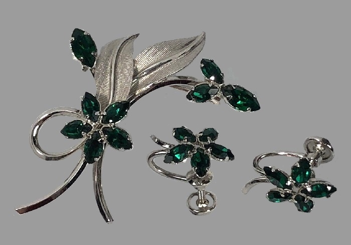 Charming sterling silver, faux emerald brooch and earrings
