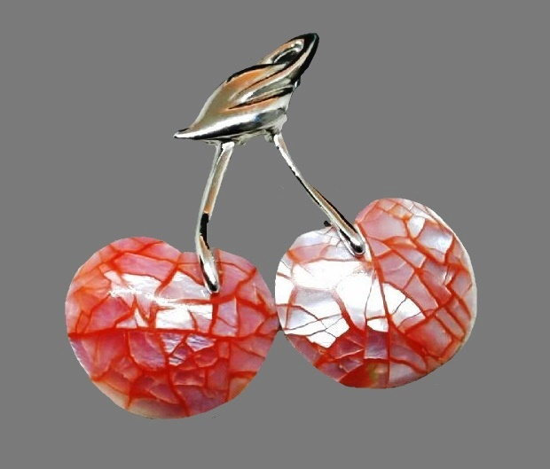 Cherry brooch. Jewelry alloy, mother of pearl. 3.5 cm