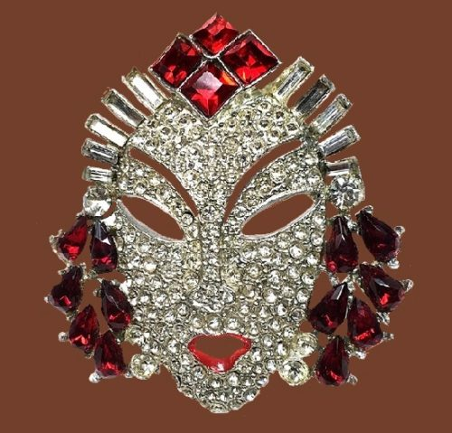Chinese opera singer face, mask brooch. Clear and red rhinestones, silver tone metal