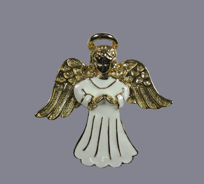 Christmas Angel vintage brooch. Gold tone jewelry alloy, enamel