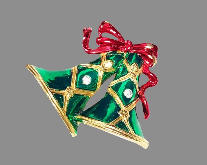 Christmas Bells Bow. Red Green Enamel Glass Rhinestone