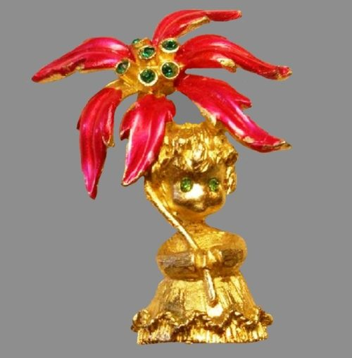 Christmas angel with poinsettia brooch