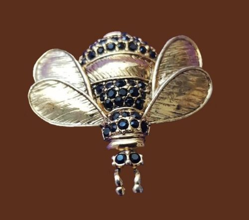 Cicada vintage brooch of jewelry alloy 3.5 cm