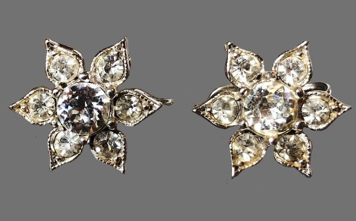 Clear rhinestone flower teadrop screwback earrings
