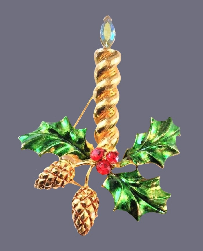 Candle and pine cones Christmas brooch