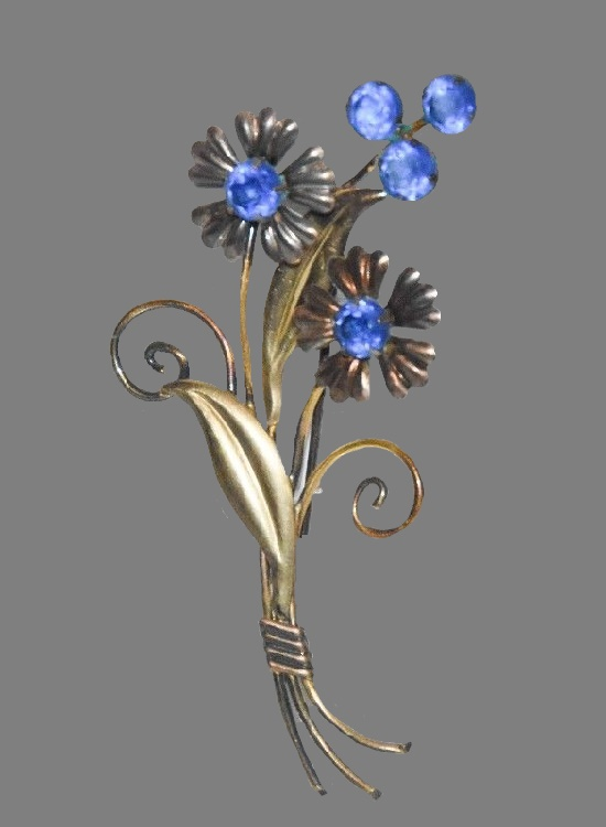 Cornflower brooch. Sterling Silver gold filled metal, rhinestones