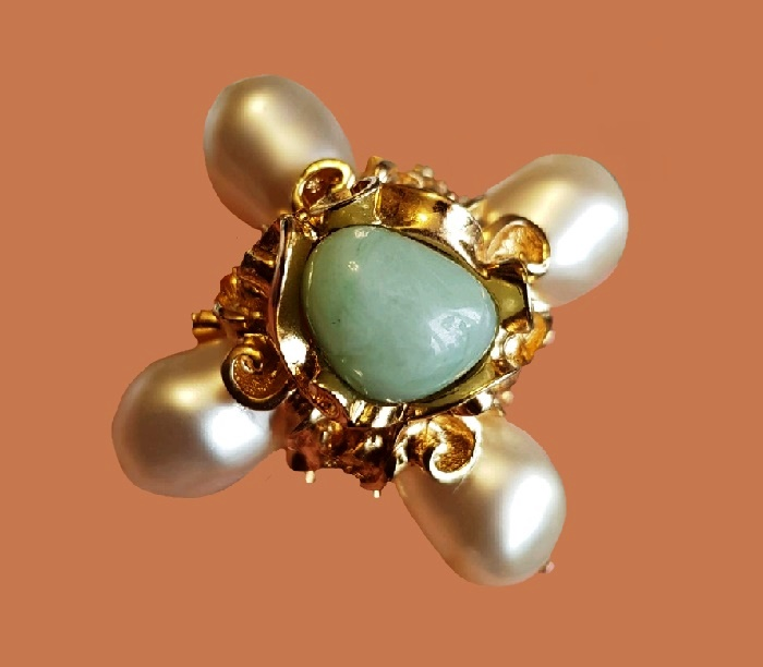Cross-styled vintage brooch, 1980s. Jewelry alloy, faux pearl, cabochons