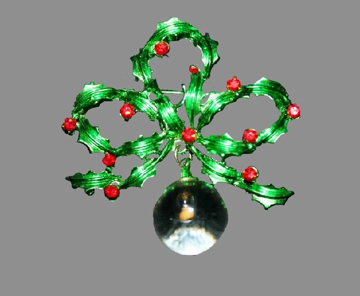 Crystal Ball Holly bow pin brooch with red rhinestones