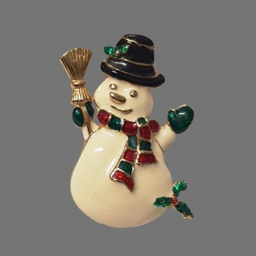 Cute Snowman Christmas enameled brooch