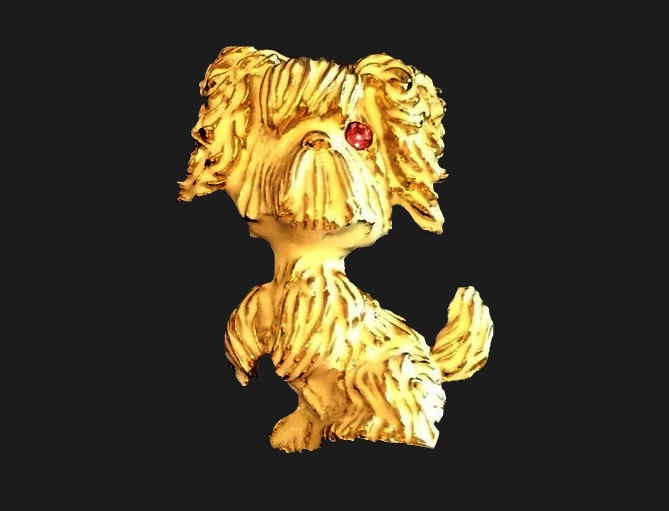 Cute dog brooch. Jewelry alloy of gold tone, enamel crystals. 4.8 cm
