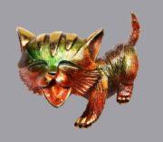 Cute kitten gold tone brooch