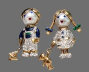 Cute paired brooches Boy and Girl. Jewelry alloy, gilding, crystals, enamel. 5 cm. 1970s