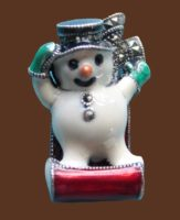 Cute snowman on a toboggan. Marcasite, sterling silver brooch