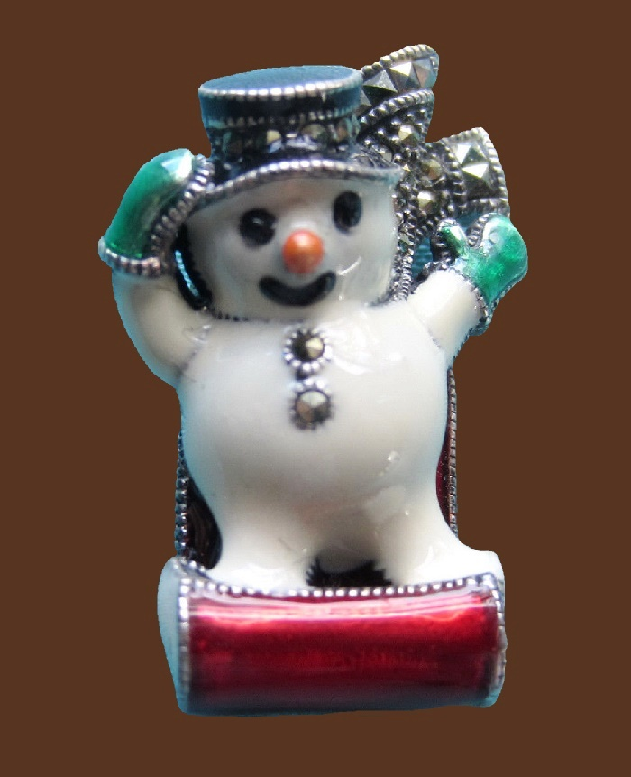 Cute snowman on a toboggan. Marcasite, sterling silver brooch