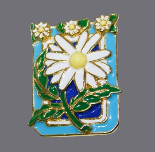 Daisy Flower enameled brooch