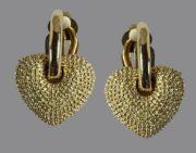 Dangle heart earrings. Gold tone metal