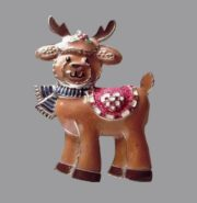 Deer brooch. Brown and black enamel, jewelry alloy