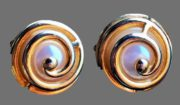 Designer Runway Earrings -65. Gold tone metal, faux pearl