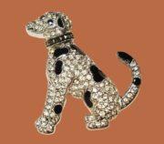 Dog brooch. Sterling silver, enamel, marcasites