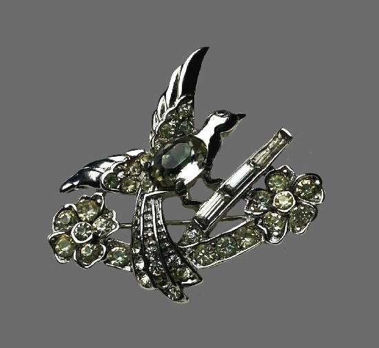 Dove bird on a blooming branch. Sterling silver, rhinestones