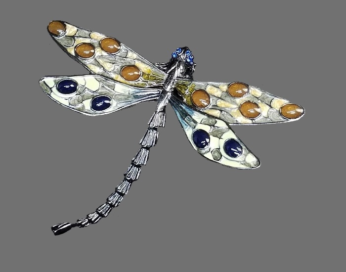 Dragonfly brooch, enamel, blue crystal eyes, cabochons, jewelry alloy