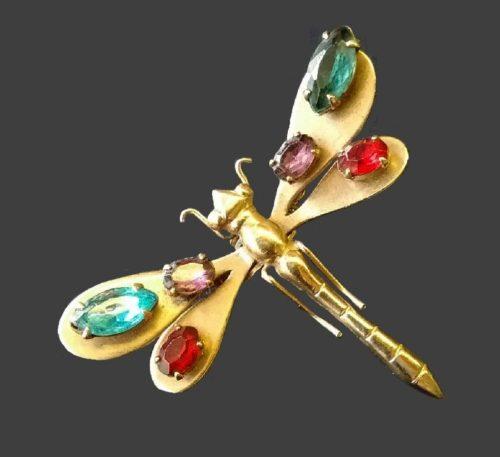 Dragonfly brooch. Gold tone metal, rhinestones