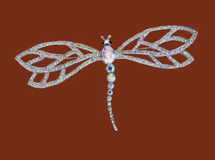 Dragonfly brooch. Jewelry alloy, aurora borealis, cabochons. 11cm
