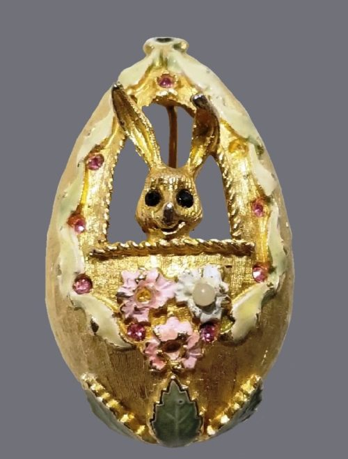 Easter Egg with Bunny Pin Brooch
