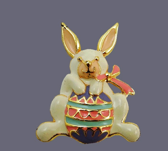 Easter bunny enameled brooch