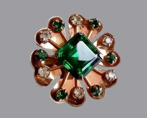Emerald green and clear rhinestones sterling silver brooch pendant